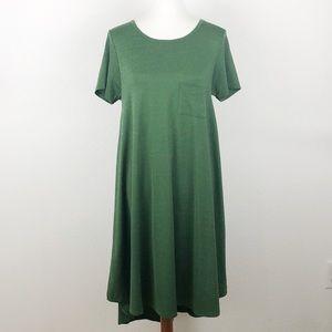 LuLaRoe Elegant Carly Green Metallic Dress